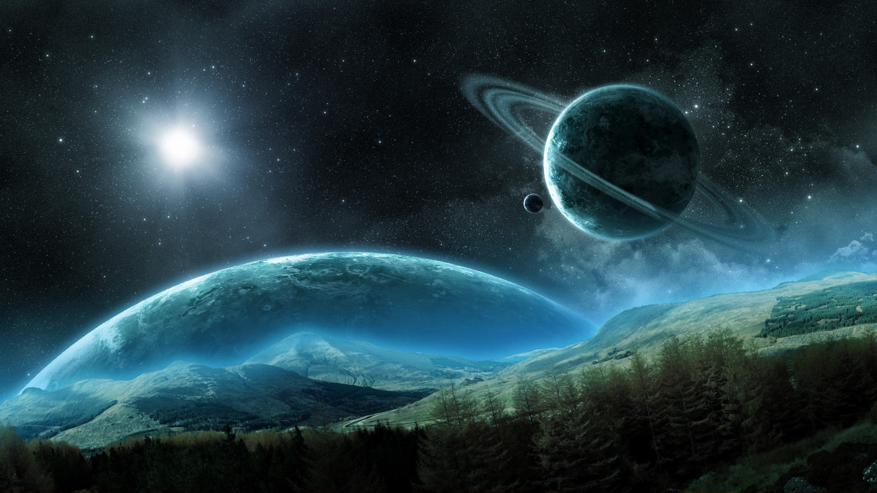 Space planet and forest hd wallpaper